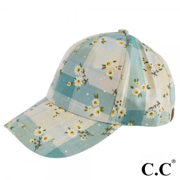 Wholesale bA C C aqua blue plaid baseball cap floral print Cotton Poyester One