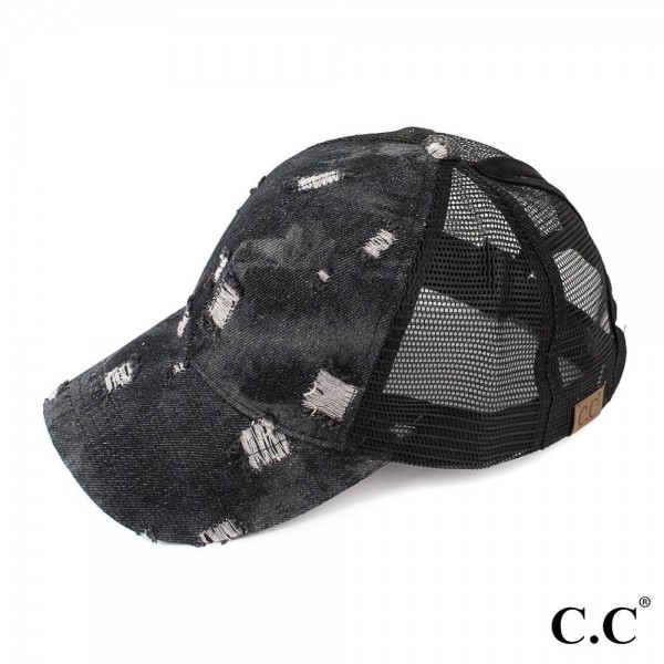 BT-8 CC- Damaged denim trucker pony tail cap. 100% cotton. One size.