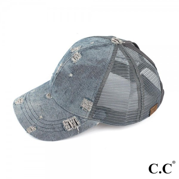 C.C BT-8 Damaged denim trucker ponytail cap. 100% cotton One size fits most.