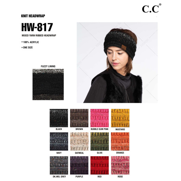 C.C HW-817 Mixed yarn ribbed headwrap  - 100% Acrylic - One size fits most