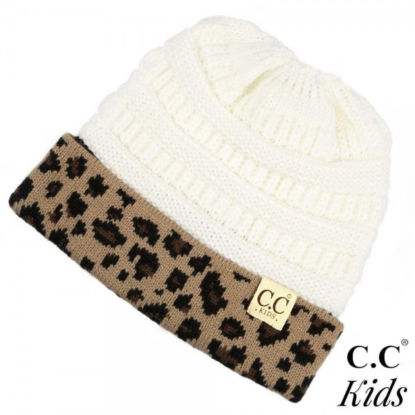 "C.C KIDS-45  Solid color beanie hat wit leopard print cuff  - 100% Acrylic - Band circumference is approximately:  16"" unstretched  20"" stretched - Approximately 7"" long from crown to band - Fit varies based on child's head height and shape"