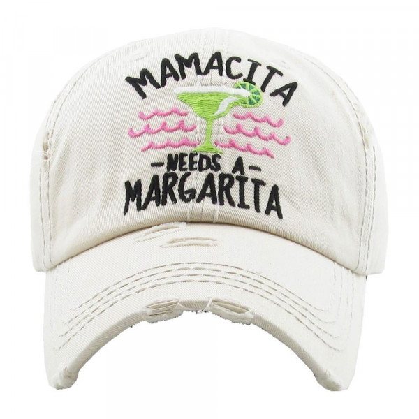Mamacita needs a margarita embroidered, vintage style ball cap with washed-look details. - 100% cotton - Adjustable back strap - One size fits most