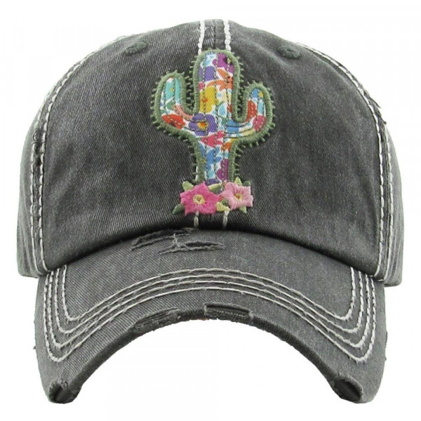 Vintage, distressed baseball cap with embroidered western cactus details.   - 100% cotton - Adjustable velcro closure - One size fits most