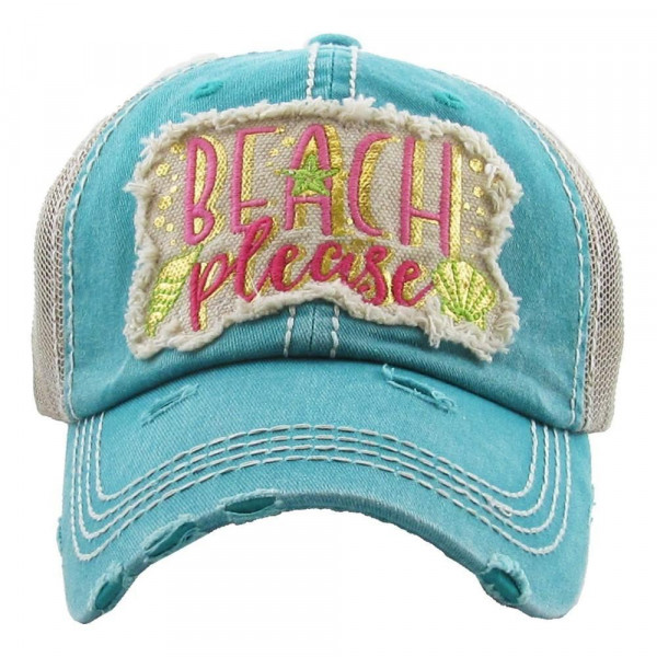 """""""Beach Please"""" embroidered, vintage style ball cap with washed-look details.  - 100% cotton - Adjustable back strap - One size fits most"""