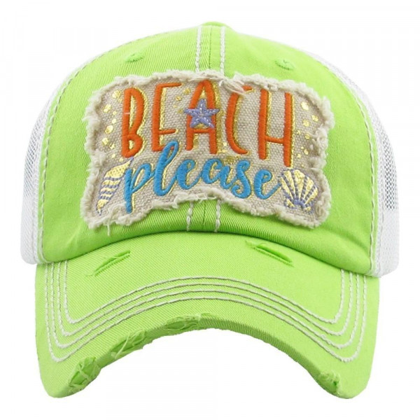 """Beach Please"" embroidered, vintage style ball cap with washed-look details.  - 100% cotton - Adjustable back strap - One size fits most"