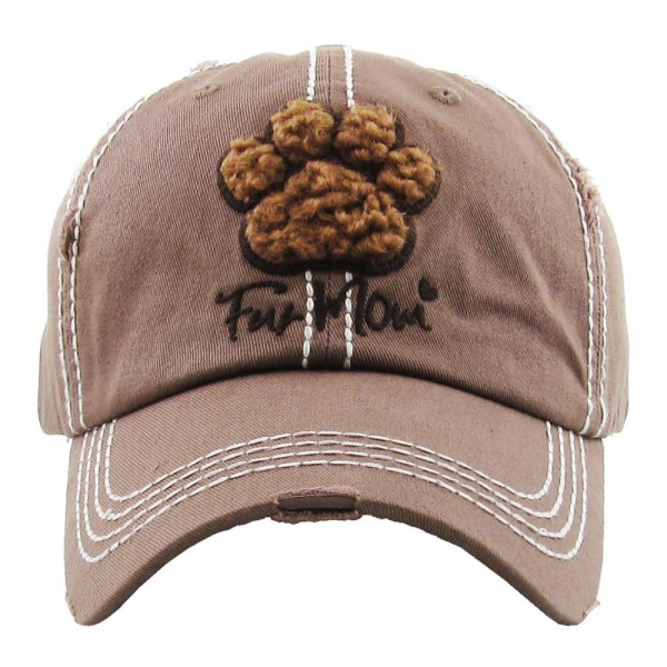 """""""Paw-print Fur Mom""""  embroidered, vintage style ball cap with washed-look details.  - 100% cotton - Adjustable back strap - One size fits most"""
