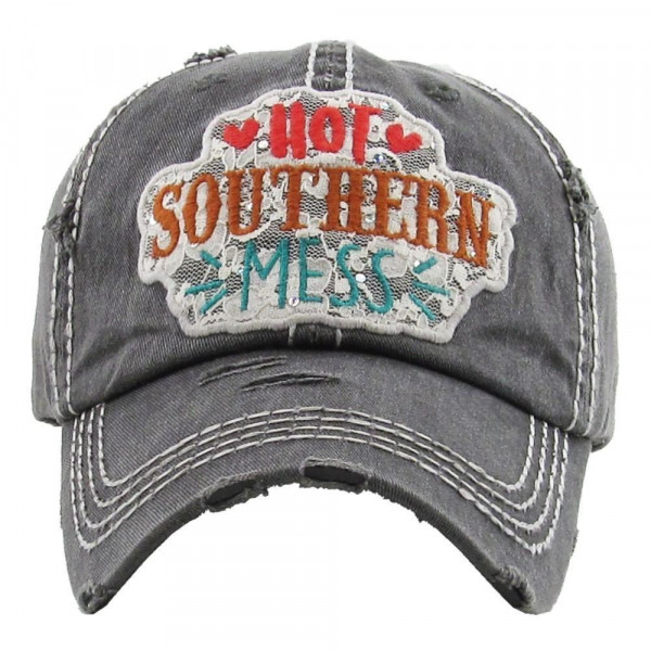 "Turquoise ""Hot Southern Mess"" embroidered, vintage style ball cap with washed-look details.  - 100% cotton - Adjustable back strap - One size fits most"