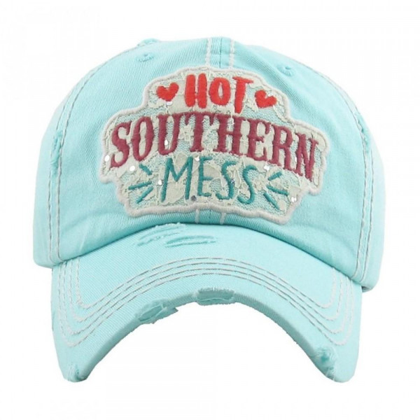 """Turquoise """"Hot Southern Mess"""" embroidered, vintage style ball cap with washed-look details.  - 100% cotton - Adjustable back strap - One size fits most"""