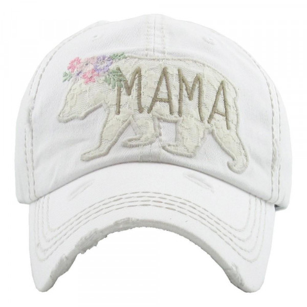 """Floral Mama Bear"" embroidered, vintage style ball cap with washed-look details.  - 100% cotton - Adjustable back strap - One size fits most"