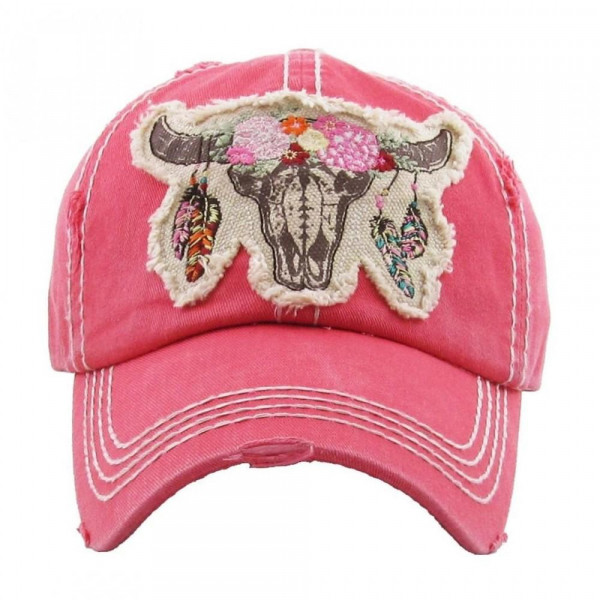 """Floral Cow Skull"" embroidered, vintage style ball cap with washed-look details.  - 100% cotton - Adjustable back strap - One size fits most"