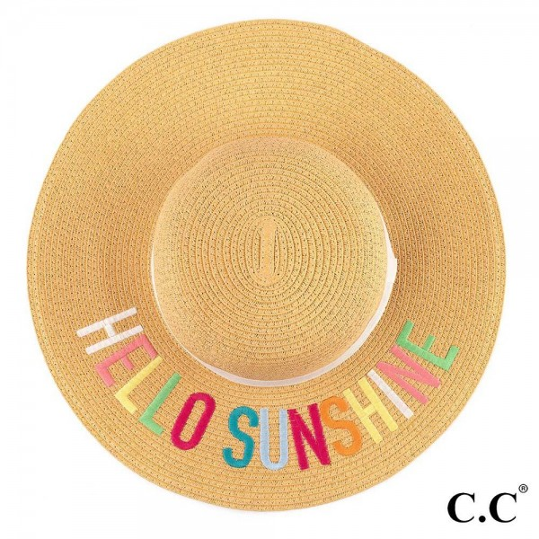 C.C ST-2017 Hello Sunshine paper straw wide brim sun hat with ribbon  - One size fits most - Inside adjustable drawstring  - 100% Paper