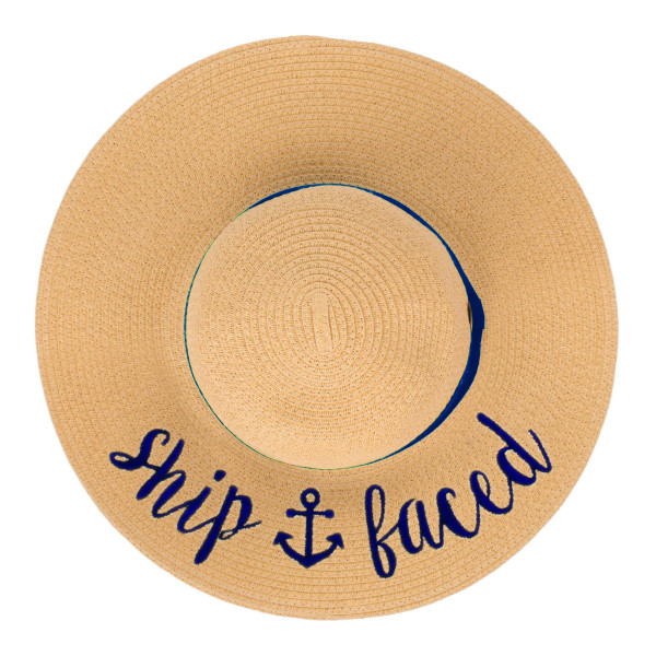"C.C Brand, wide-brim floppy beach hat featuring ""Ship Faced"". This hat is crushable/packable and able to hold it's shape. Brim approximately 4"" wide. Approximately 15.5"" in diameter overall. UPF 50+  One size fits most.  Composition: 100% Paper."