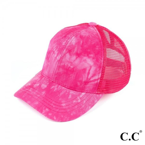 CC Pony Cap BT-5- with tie dye cotton fabric and mesh pony cap. Adjustable velcro back with CC leather logo on back. 100% cotton. One size.