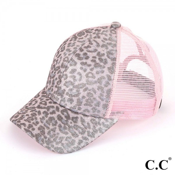 C.C. Pony Cap BT-11. C.C. leopard print glitter ponytail baseball cap with mesh back and adjustable velcro closure.   One size fits most.  Composition: 100% polyester.