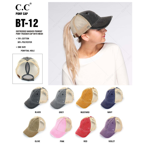 C.C. BT-12. Vintage, distressed ponytail cap with mesh back and adjustable velcro closure.   One size fits most.   Composition: 70% Cotton 30% Polyester.