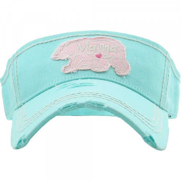 """Vintage, distressed visor featuring """"Mama Bear"""" embroidered detail.  - 100% Cotton - Adjustable velcro closure - One size fits most"""