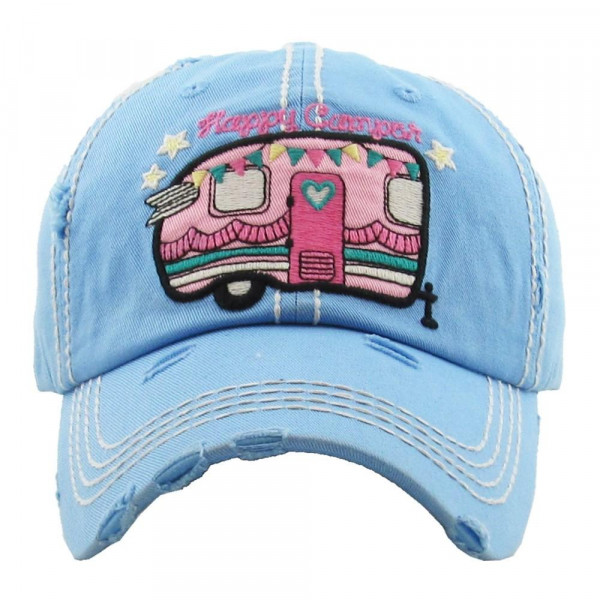 """Vintage, distressed baseball cap featuring """"Happy Camper"""" embroidered detail.  - 100% Cotton - Adjustable velcro closure - One size fits most"""