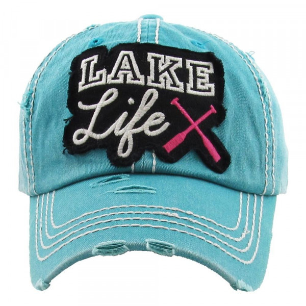 """Vintage, distressed baseball cap featuring """"Lake Life"""" embroidered detail.   - 100% Cotton  - Adjustable velcro closure - One size fits most"""