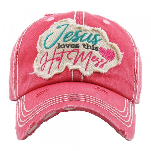 """Vintage, distressed baseball cap featuring """"Jesus Loves This Hot Mess"""" embroidered details.  - 100% Cotton - Adjustable velcro closure - One size fits most"""