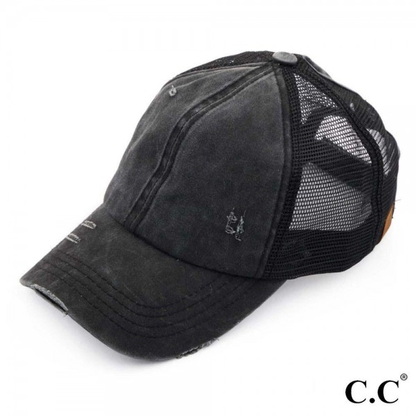 C.C BT-13 black distressed vintage style ponytail cap. Mesh back and velcro closure. 100% Cotton. One size fits most.