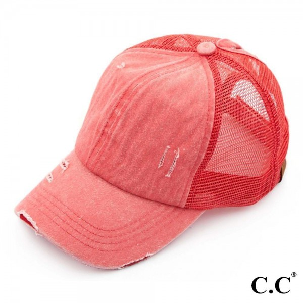 C.C BT-13 coral distressed vintage style ponytail cap. Mesh back and velcro closure. 100% Cotton. One size fits most.