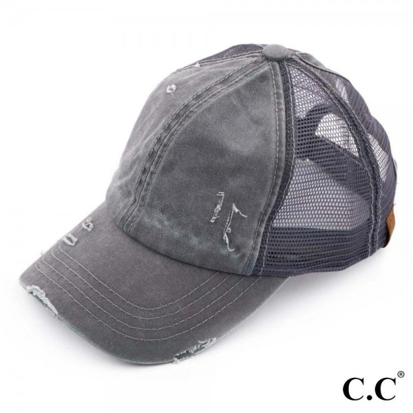 C.C BT-13 dark grey distressed vintage style ponytail cap. Mesh back and velcro closure. 100% Cotton. One size fits most.