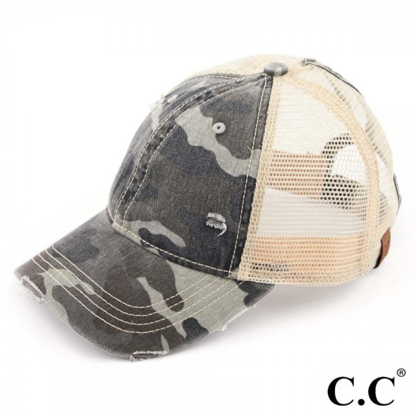C.C BT-15 camouflage distressed vintage style ponytail cap with mesh back.   - One size fits most.   - Adjustable velcro closure.  - Composition: 70% Cotton 30% Polyester