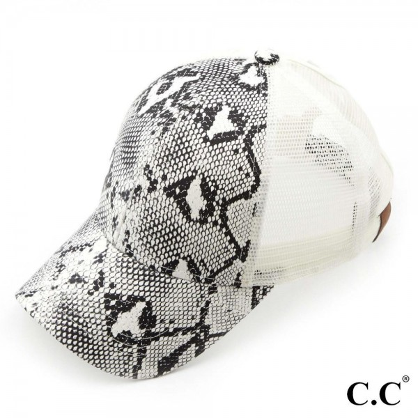 C.C BT-2410 Snakeskin print pony trucker cap with mesh back  - 70% PU, 30% Polyester - Adjustable velcro closure - One size fits most