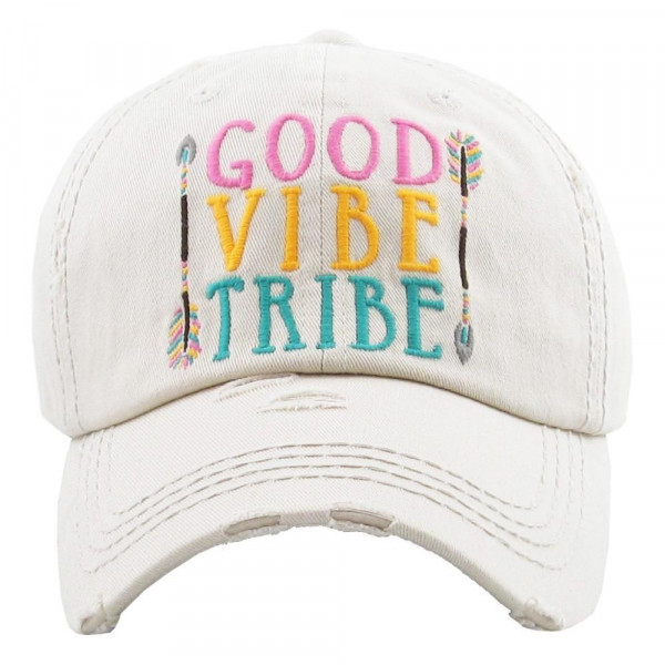 "Vintage, distressed baseball cap featuring ""Good Vibe Tribe"" embroidered details.   - 100% Cotton - Adjustable velcro closure - One size fits most"