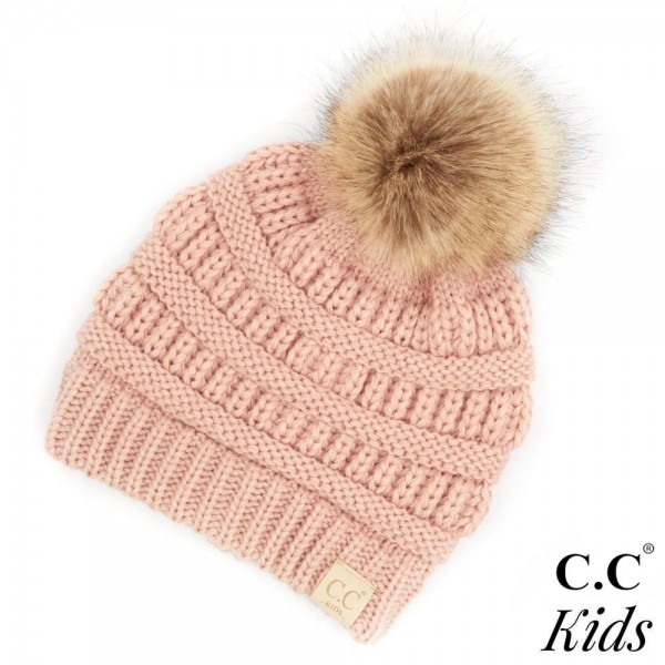 """C.C KIDS-43 Solid ribbed kids beanie with faux fur pom  - 100% Acrylic - Band circumference is approximately:  14"""" unstretched  18"""" stretched - Approximately 7"""" long from crown to band - Fit varies based on child's head height and shape"""