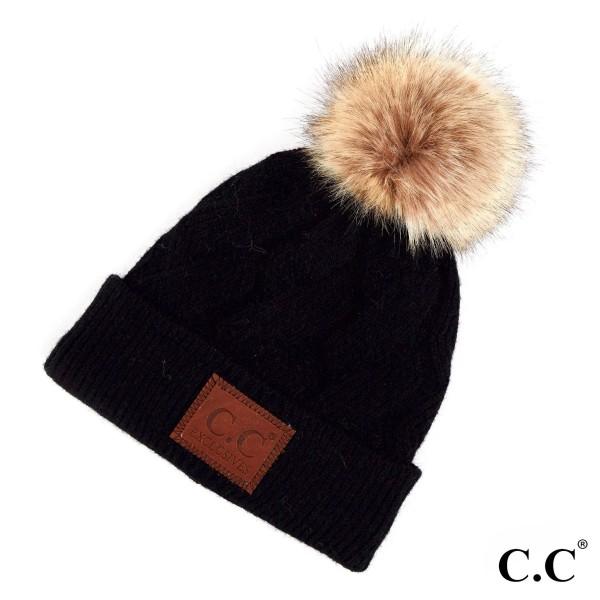 Wholesale c C HAT Geometric cable beanie faux fur pom Acrylic One fits most