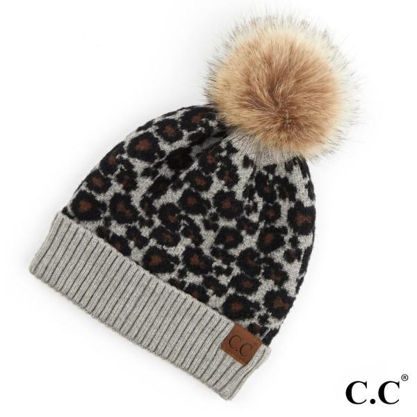 C.C HAT-2315 Leopard print pom beanie  - 50% Viscose, 30% Nylon, 20% Acrylic - One size fits most
