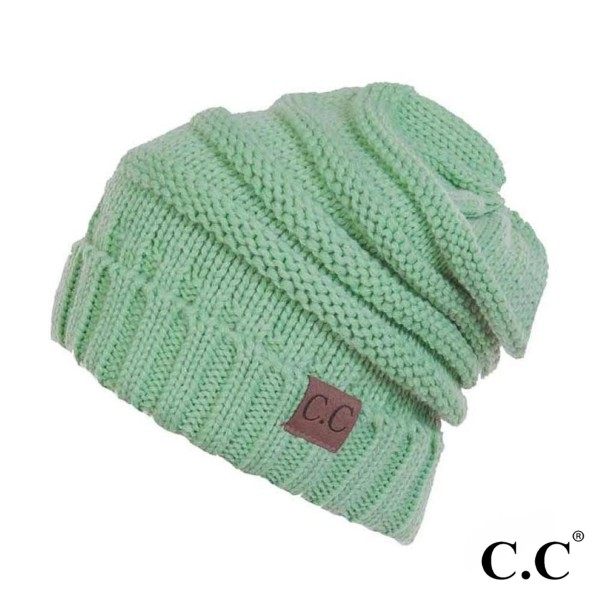 966bbbd4b C.C HAT-100 Ribbed slouchy beanie - 100% Acrylic - One size fits ...