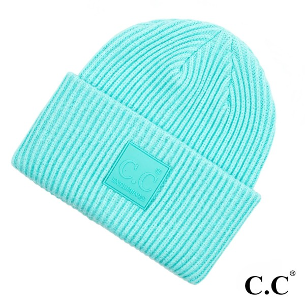 C.C HAT-7007  Solid ribbed knit beanie with C.C rubber patch  - 50% Viscose, 30% Polyester, 20% Nylon - One size fits most