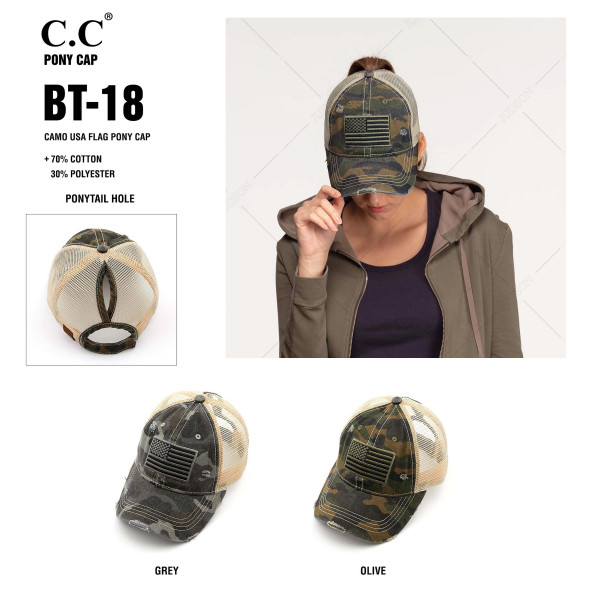 C.C BT-18 Camo USA Flag distressed vintage pony cap  - 70% Cotton, 30% Polyester - Adjustable velcro closure - One size fits most
