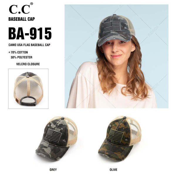 C.C BA-915 camo USA flag distressed vintage baseball cap with mesh back.   - One size fits most   - Adjustable velcro closure  - Composition: 70% Cotton 30% Polyester
