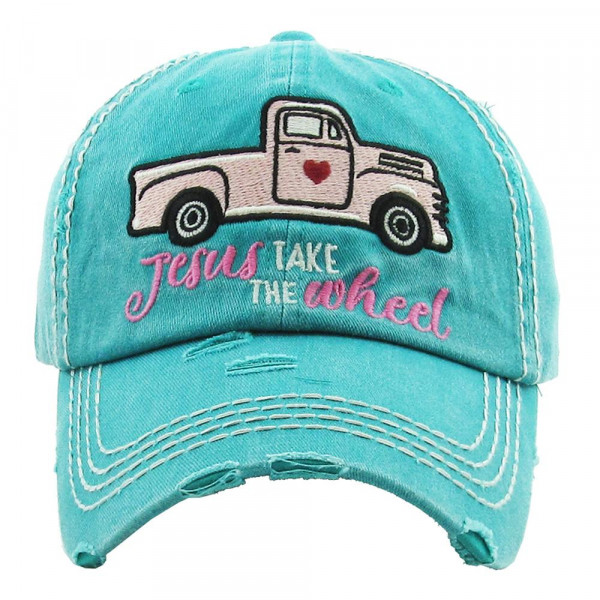 """Vintage, distressed baseball cap featuring """"Jesus Take The Wheel"""" embroidered details.  - 100% Cotton - Adjustable velcro closure - One size fits most"""