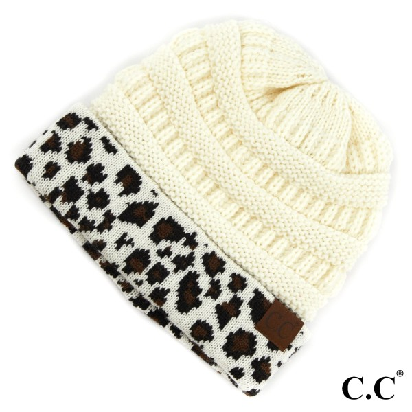 C.C HAT-80 Solid color beanie with leopard print cuff  - 100% Acrylic - One size fits most - Matches C.C SF-80, HW-80 and G-80