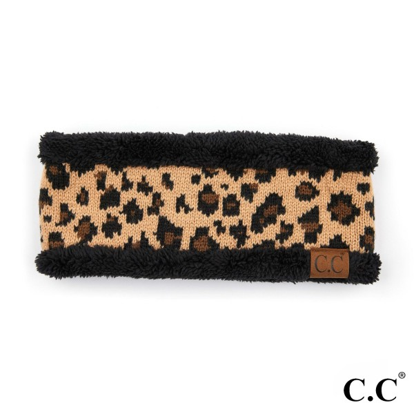 C.C HW-80 Leopard print knit with fuzzy lining   - 100% Acrylic - One size fits most