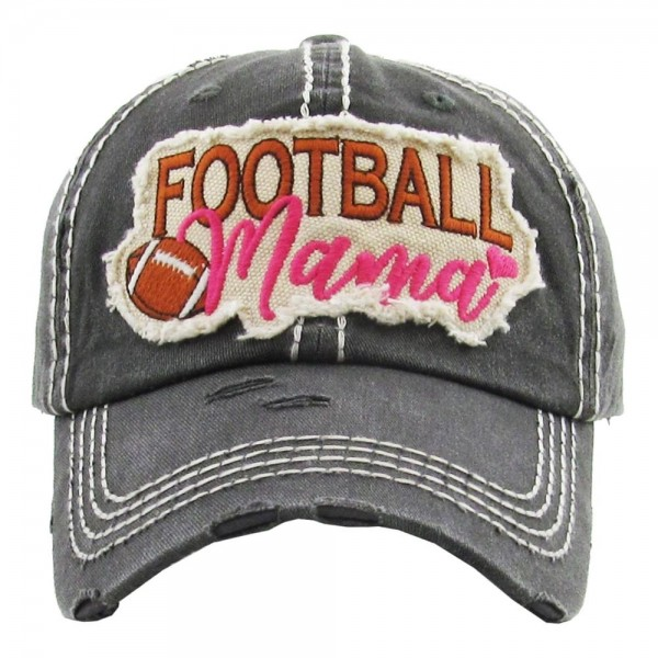 "Vintage, distressed baseball cap featuring ""Football Mama"" embroidered detail.  - One size fits most  - Adjustable velcro closure - 100% Cotton"