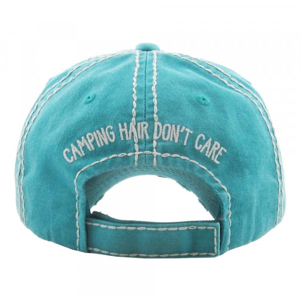 "Vintage, distressed baseball cap featuring ""Camping Hair Don't Care"" buffalo check embroidered detail.  - One size fits most  - Adjustable velcro closure - 100% Cotton"