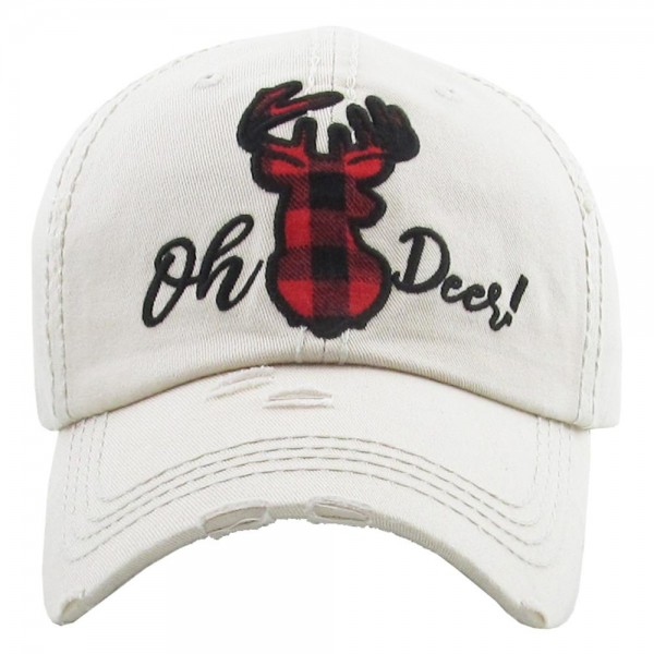 "Vintage, distressed baseball cap featuring ""Oh Deer!"" buffalo check embroidered detail.  - One size fits most  - Adjustable velcro closure - 100% Cotton"
