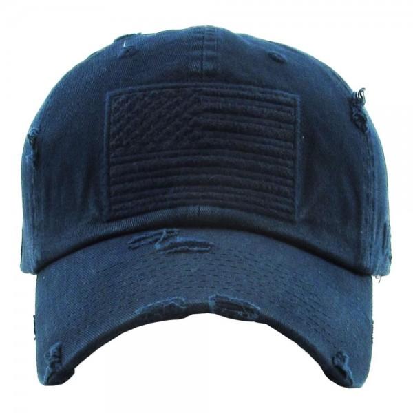 Solid color USA Flag embroidered vintage distressed baseball cap.  - One size fits most - Adjustable back strap - 100% Cotton