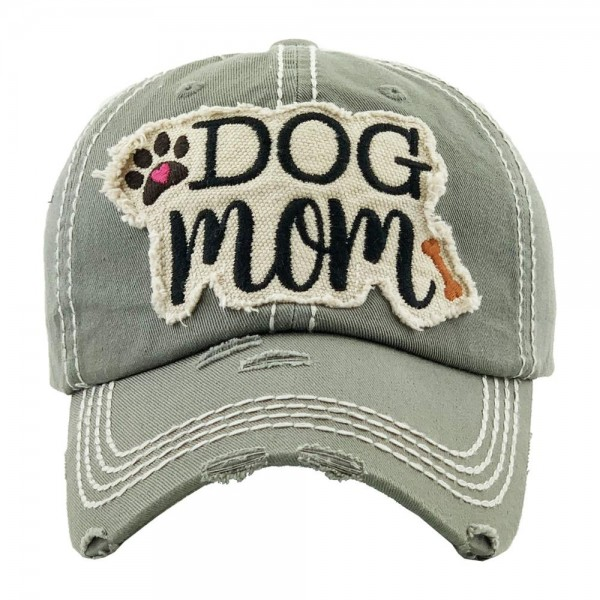 """Vintage, distressed """"Dog Mom"""" embroidered baseball cap.  - One size fits most  - Adjustable velcro closure - 100% Cotton"""