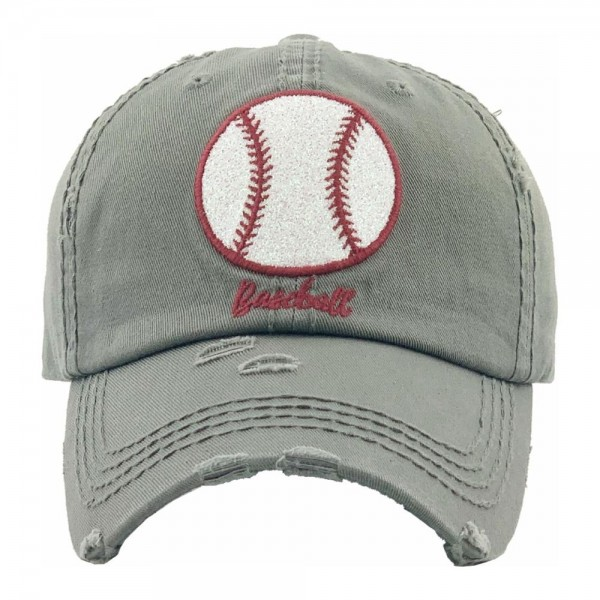 Glittery Baseball embroidered vintage distressed baseball cap.  - One size fits most - Adjustable velcro closure - 100% Cotton