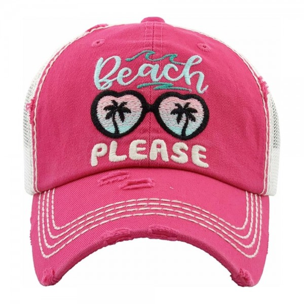 Beach Please embroidered vintage distressed trucker hat with mesh back.  - One size fits most - Adjustable velcro closure - 100% Cotton