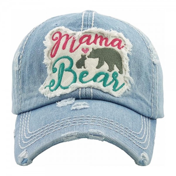 Mama Bear embroidered vintage distressed baseball cap.  - One size fits most - Adjustable velcro closure - 100% Cotton