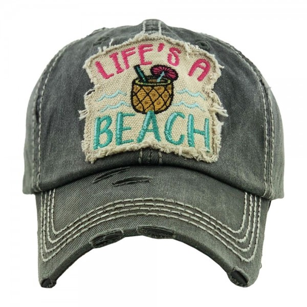 """""""Life's A Beach """" embroidered vintage distressed baseball cap.  - One size fits most  - Adjustable velcro closure - 100% Cotton"""