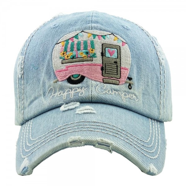 """""""Happy Camper"""" embroidered vintage distressed baseball cap.  - One size fits most  - Adjustable velcro closure - 100% Cotton"""