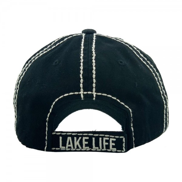"Rhinestone ""Lake Life"" embroidered vintage distressed baseball cap.  - One size fits most  - Adjustable velcro closure - 100% Cotton"
